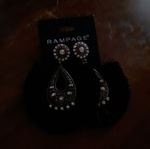 Rampage Statement Boho Fringe Gem Earrings